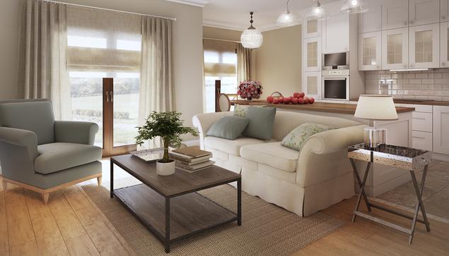 Zobacz galerię zdjęć Salon z kuchnią w domu jednorodzinnym ...