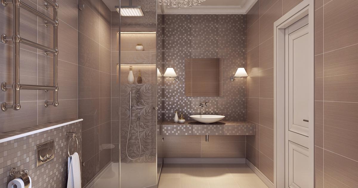 Beżowa łazienka Elegancka Aranżacja łazienki